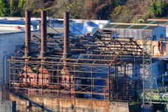 Ruins of old Power Plant in Oregon City stock photo