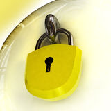 Close up on security lock with padlock Stock Image