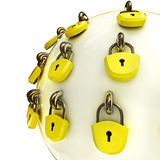 Close up on security sphere locked with lockers Royalty Free Stock Photo