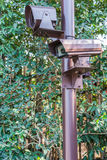 Close up of security surveillance camera . Royalty Free Stock Photography