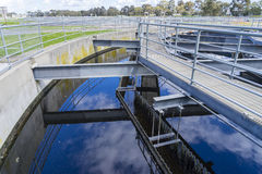 Close-up of sedimentation tank in a sewage treatment plant Stock Images