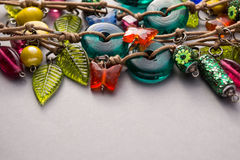 Close up of a selection of glass beads and charms Royalty Free Stock Photography