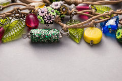 Close up of a selection of glass beads and charms Royalty Free Stock Images