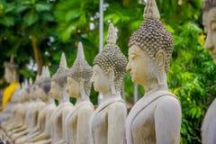 Close up of selective focus Ancient Buddha Statue at WAT YAI CHAI MONGKOL, The Historic City of Ayutthaya, Thailand.  Stock Image