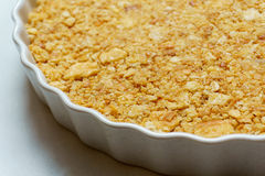 Close up of selective focus cracker crust. In the circle dish Royalty Free Stock Images