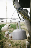 Close up and selective focus image of hanging white fish net buoy Stock Images