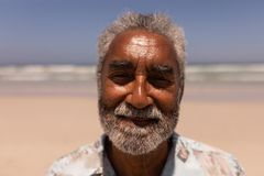 Senior black man looking at camera on beach. Close-up of senior black man looking at camera on beach in the sunshine stock photography