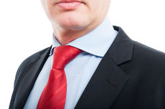 Close-up of senior business man shirt and tie. Isolated on white background Stock Photo