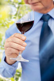 Close up of senior man drinking wine from glass. Profession, drinks, holidays and people concept - close up of senior man drinking red wine from glass over green Royalty Free Stock Images