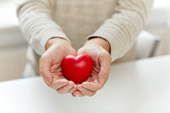 Close up of senior man with red heart in hands Royalty Free Stock Photography