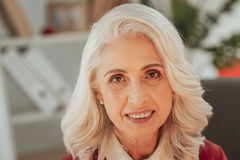 Close up of senior positive woman stock photography