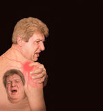 Close-up of senior shirtless man with shoulder pain over black background. Close-up of senior shirtless man with shoulder pain over white background stock photography