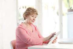 Close-up of a senior woman with laptop. Close-up of a senior woman sitting at desk and working laptop. Small business Royalty Free Stock Images