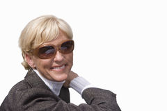 Close-up of senior woman in sunglasses, cut out Stock Images