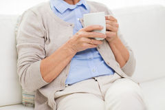 Close up of senior woman with tea  cup at home Stock Photography