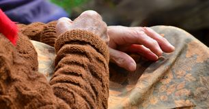 Elderly Woman, Wrinkled Hands stock photography