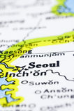 Close up of Seoul on map, korea Royalty Free Stock Photo