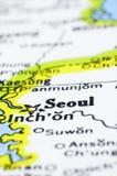 Close up of Seoul on map, korea Royalty Free Stock Photo