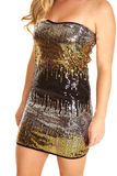 Close up sequin dress gold black silver Royalty Free Stock Photos