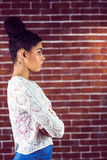 Close up of a serious woman looking away Royalty Free Stock Photography