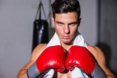 Close-up of a serious young male boxer Stock Photo