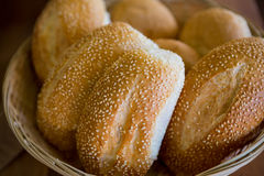 Close-up of sesame breads in basket Stock Photos