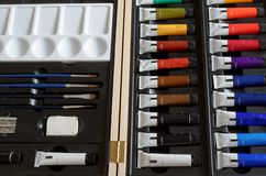 A Close-Up of a Set of Artist`s Paints Stock Images