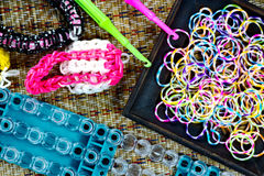 Close up of set of colorful elastic loom bands color full Stock Images