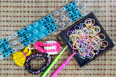 Close up of set of colorful elastic loom bands color full Stock Photo
