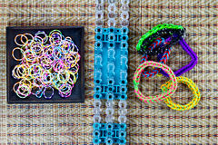 Close up of set of colorful elastic loom bands color full Stock Image