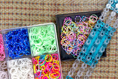 Close up of set of colorful elastic loom bands color full Stock Photos