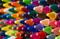 Set of crayons. Close up set of crayons and mix color Stock Image