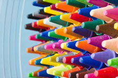 Set of crayons. Close up set of crayons and mix color Royalty Free Stock Image