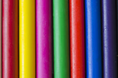 Set of crayons. Close up set of crayons and mix color Royalty Free Stock Images