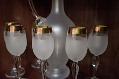 Close up of set of crystal wineglasses Royalty Free Stock Image