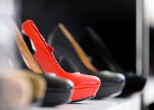 Close up of set of heeled shoes Stock Images