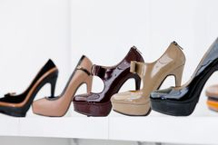 Close up of set of high heeled shoes Stock Photography