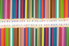 Close up set of multiple colour wooden pencils on white background Royalty Free Stock Photo