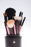 Close-up set of  professional  pink make-up Stock Photo