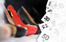 Close up of set of shoes on summer sale Royalty Free Stock Image