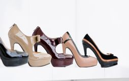 Close up of set of stylish shoes Royalty Free Stock Photography