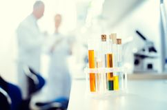 Close up of set test tubes containing chemical liquids. Professional equipment. Selective focus on a set of glass test tubes with different chemical substances Royalty Free Stock Photography