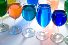 Close up set of wine glass and color water Stock Photos