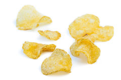 Close-up of several potato chips Royalty Free Stock Image