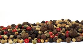 Close up of several types of peppercorns Royalty Free Stock Photography