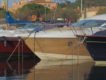 Close up of several yachts. Saint-tropez, France - august 8 2017: A close up of several yachts for anchor at the port of Saint Tropez stock images