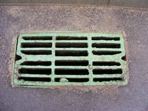 Close-up of sewer grill. On the road Royalty Free Stock Images