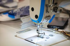 Close-up sewing machine working part ready to work.  Stock Photography