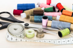 Close-up sewing supplies Stock Image
