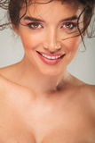 Close up of sexy curly smiling model Stock Images